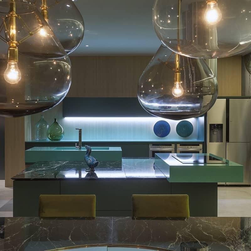encimera cocina verde fregadero isla 1 | Cosentino